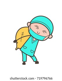 Cartoon Surgeon Carrying a Pack of Sack Vector Illustration