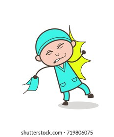 Cartoon Surgeon Got Hurt Vector Concept