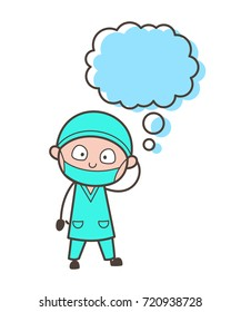 Cartoon Surgeon with Thought Bubble Vector Illustration