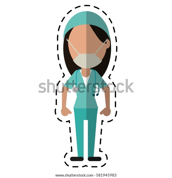 cartoon surgeon woman with mask medical stethoscope