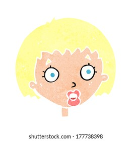 cartoon surprised female face