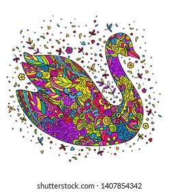 Cartoon swan, decorated with ornaments. Coloring page. Vector color doodling isolated on a white background.