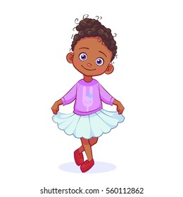 Cartoon sweet black girl in a lilac sweater with bunny standing in a pose of reverence. Cutout kids vector illustration.