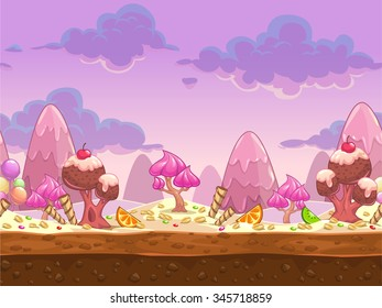 Cartoon sweet candy land seamless illustration, vector fantasy landscape with separated layers for parallax effect