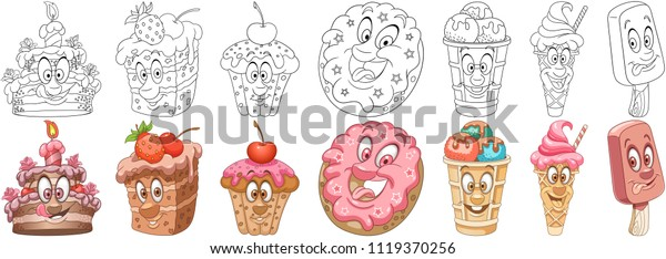 Cartoon Sweet Dessert Food Collection Coloring Stock