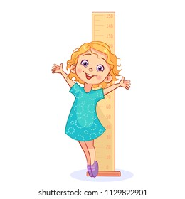 Cartoon sweet girl measures her growth with a big ruler and stands on the tiptoe. Cutout kids vector illustration.