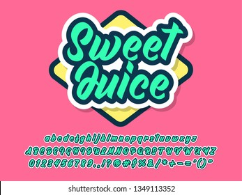 cartoon sweet juice text style for simple pop drink logo design, friendly typeface for brand and logo design