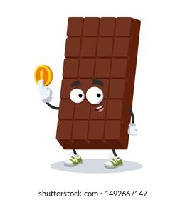 cartoon sweet milk chocolate bar mascot keeps the coin on white background