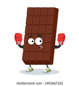 cartoon sweet milk chocolate bar mascot in red boxing gloves on white background