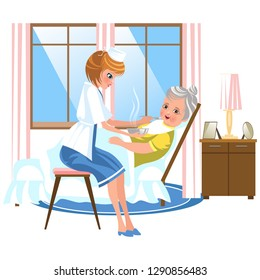 Cartoon sweet nurse feeding old lady in bed