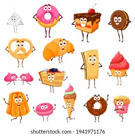 Cartoon sweets and bakery funny characters. Meringue, donut, chocolate cake and cookie, pretzel, croissant or cupcake with jelly. Macaroon, ice cream, waffle with pie smiling, waving hand isolated set