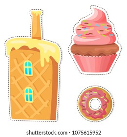 Cartoon sweets stickers or icons set. Colorful cupcake with cream and glazed donut flat vector isolated on white background. Waffle cake house with chimney illustration outlined with dotted line