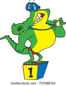 cartoon swimmer alligator standing on a first place podium holding a winners medal