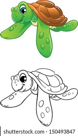 Cartoon swimming marine turtle, color illustration and black-and-white outline. Best for coloring book
