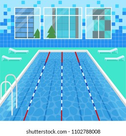 Cartoon Swimming Pool Interior Card Poster Leisure Healthy Care Concept for Fitness Exercise Element Flat Design Style. Vector illustration