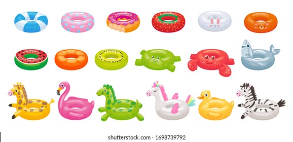 Cartoon swimming ring. Funny flamingo, shark, unicorn and duck floating rings. Summer swimming pool toys vector illustration set. Inflatable summer duck ring, swimming watermelon rubber