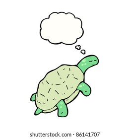 cartoon swimming turtle with thought bubble