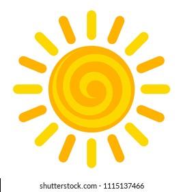 Cartoon swirl sun icon. Vector illustration symbol