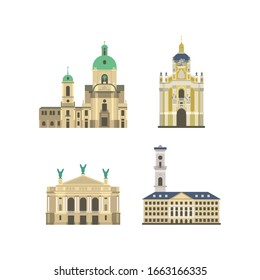 Cartoon symbols of Lviv. Popular tourist architectural object: Dominican church and monastery, Saint Yura Cathedral, National Academic Theatre of Opera and Ballet, City Hall, Ukraine