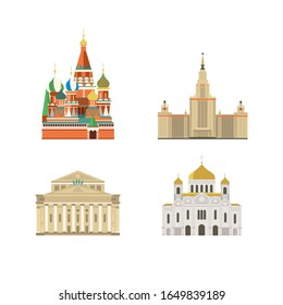 Cartoon symbols and objects set of Moscow. Popular tourist architectural objects: St. Basil's Cathedral, MSU, Cathedral of Christ the Saviour, Big Theatre, Moscow icons set.