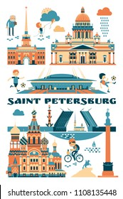 Cartoon symbols and objects set of Saint Petersburg . Popular tourist architectural objects: Winter Palace, Russian museum, Palace bridge, Admiralty, Isaac cthedral, Kazan cathedral and another sights