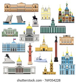Cartoon symbols and objects set of Saint Petersburg. Popular tourist architectural objects: Winter Palace, Russian museum, Palace bridge, Admiralty, Isaac cthedral, Kazan cathedral and another sights.