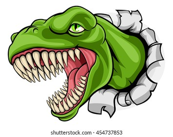 A cartoon T Rex tyrannosaurus dinosaur ripping through the background