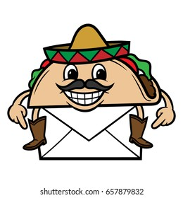 Cartoon Taco With Mail Vector Illustration