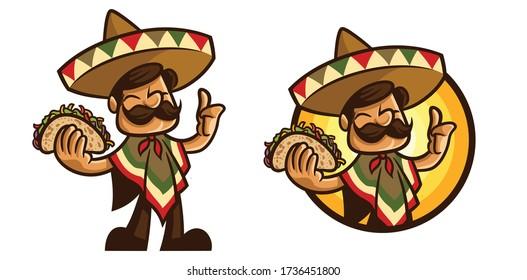 Cartoon Taco Master Mascot Logo