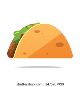 Cartoon taco vector isolated illustration