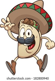 Cartoon taco wearing a sombrero. Vector clip art illustration with simple gradients. Taco and sombrero on separate layers.