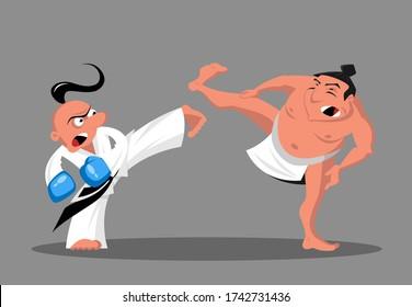 Cartoon Taekwondo und Sumo Wrestler im Ring