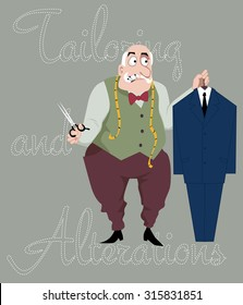 Cartoon tailor with scissors, measuring tape and pins in his mouth holding a suit on a hanger, vector cartoon, EPS 8