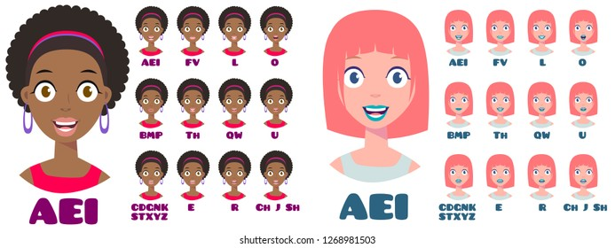Cartoon Talking Black and White Woman Expressions. Mouth and Lips Vector Animation Poses for Video Blog. English Accent and Pronunciation, Tongue and Articulation
