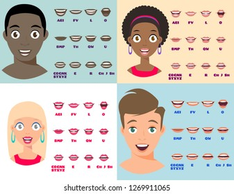 Cartoon Talking Black and White Woman and Man Expressions. Mouth and Lips Vector Animation Poses for Video Blog. English Accent and Pronunciation, Tongue and Articulation