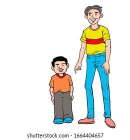 Cartoon tall man and shorter man