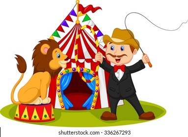Cartoon tamer train a lion with circus background