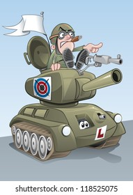 Cartoon tank with commander leading the charge