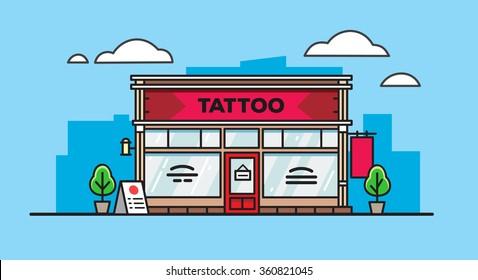 Cartoon tattoo salon building on blue background in flat style