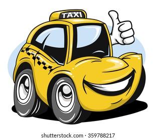 Cartoon taxi car giving a thumbs up