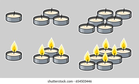 Cartoon tea candles in various groupings, lit and unlit. Gray background on separate layer for easy editing & removal.