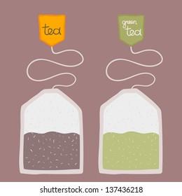 cartoon teabag - black and green tea