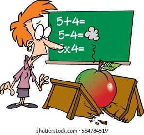 cartoon teacher with giant apple breaking her desk
