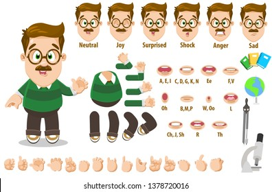 Cartoon teacher man constructor for animation. Parts of body: legs, arms, face emotions, hands gestures, lips sync. Full length, front, three quater view. Set of ready to use poses, objects.