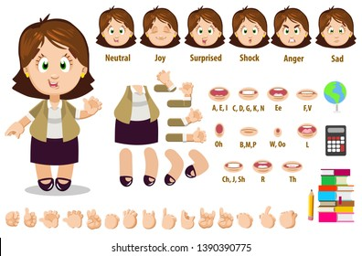 Cartoon teacher woman constructor for animation. Parts of body: legs, arms, face emotions, hands gestures, lips sync. Full length, front, three quarter view. Set of ready to use poses, objects.