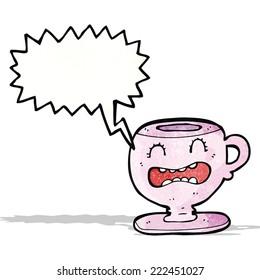 cartoon teacup with speech bubble