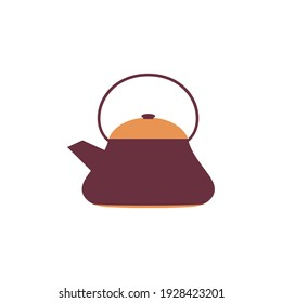 cartoon teapot isolated on white background, vector illustration with kitchen kettle, flat design, kitchenware cartoon concept