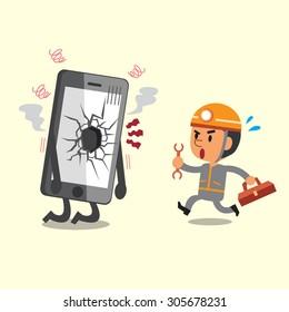 Cartoon technician and broken smartphone