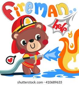Cartoon teddy bear fireman illustration vector.