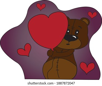A cartoon teddy bear holds a red heart balloon tightly in his hands. He looks completely amazed and in love. Little red hearts buzz around him. The teddy bear is in love.
